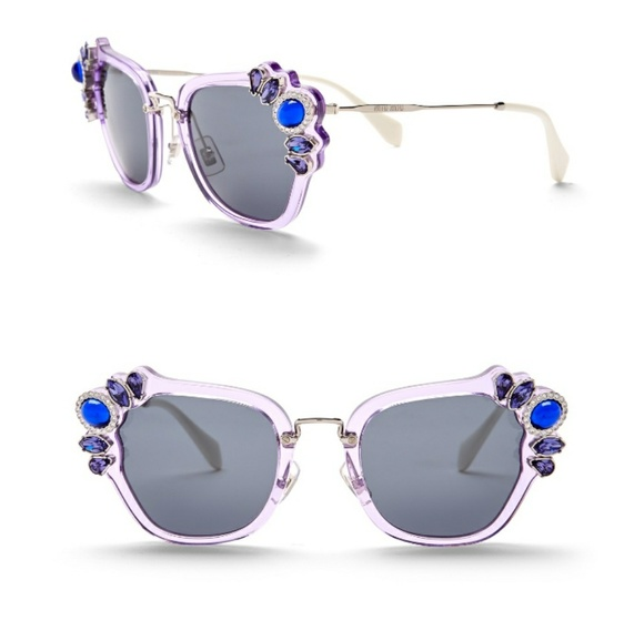 839bbacff92c NWT MIU MIU Embellished Cat Eye Sunglasses